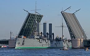 Корабли: Санкт-Петербург, Ленинград, Петроград, Питер, Россия, Крейсер, Аврора, мост