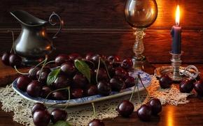 Разное: черешня, ягоды, свеча, бокал, кувшин, натюрморт
