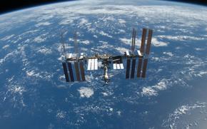 Космос: МКС, Земля, космос, наука, техника, орбитальная, станция, океан, облока, горизонт, полёт
