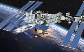 Космос: МКС, Земля, космос, наука, техника, орбитальная, станция, облока, горизонт, полёт, звёзды, графика