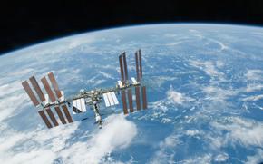 Космос: МКС, Земля, космос, наука, техника, орбитальная, станция, облока, горизонт, полёт