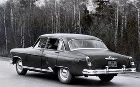 Машины: ГАЗ, ГАЗ-21, Волга, 1954, СССР, авто, автомобиль, машина, чёрный, классика, ностальгия, ретро, фото, чёрно-белый, дорога