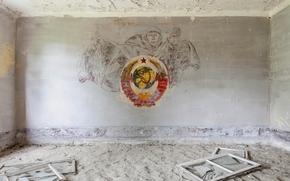 Разное: комната, окна, герб, СССР, заброшенная, военная, часть