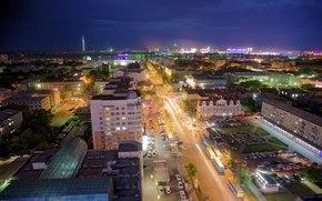 Город: город, машины, огни, ночь, дома, горизонт