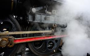 Машины: Поезд, паровоз, пар, рельсы, колесо