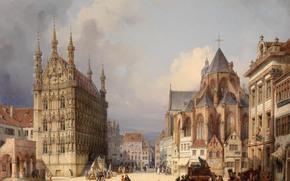 Обои Город: Рыночная площадь, Лёвен, 1854, Австрия, картина, город, дома, люди