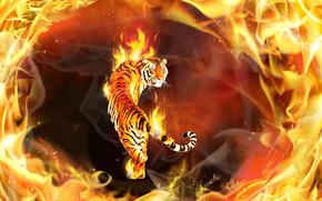 Рендеринг: тигр, огонь, 3d, art