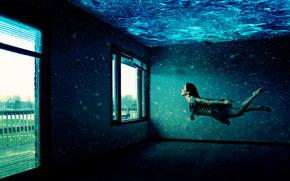 Ситуации: Под водой, комната, окна, девушка, плывёт