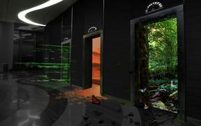 Рендеринг: лифт, двери, этаж, лес, пустыня, бабочка, здание, помещение, интерьер, вход, выход, графика