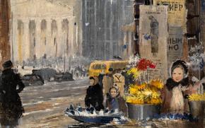Обои Город: Бумажные цветы и снег, Пименов, Москва, СССР, 1943, картина, дети, люди, Большой театр, улица, троллейбус, машины