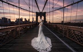 Настроения: Brooklyn Bridge, New York City, Бруклинский мост, Нью-Йорк, свадьба, невеста, свадебное платье, платье, мост, город