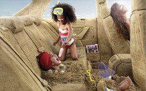 Рендеринг: машина, салон, песок, дети, мороженое