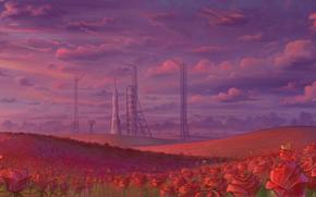 Рендеринг: космодром, розы, поле, ракета, небо