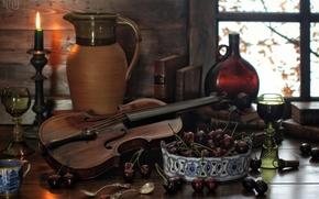 Разное: ягоды, вишня, скрипка, кувшин, свеча, бокалы, бутылка, книги, ложки, натюрморт