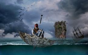 Ситуации: девушка, пират, зонтик, зонт, море, парусник, фрегат, скала, ситуация