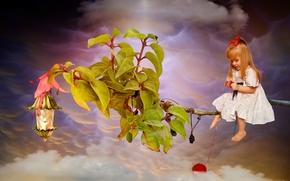 Ситуации: девочка, рыжая, рыжеволосая, ветка, листья, клубок, нитки, облака