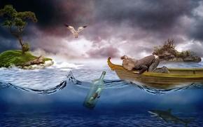 Ситуации: девочка, лодка, море, бутылка, письмо, острова, акула, птица, чайка, ситуация