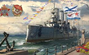Корабли: Корабль, крейсер, Аврора, революция, октябрь, 1917, Питер, Россия, СССР, флот, ВМФ, море, чайка, флаг, герб, орден, якорь, набережная, небо, облока