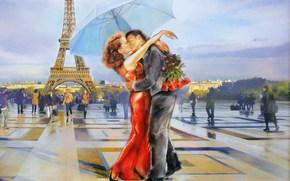 Обои Ситуации: арт, мужчина, женщина, любовь, целуются, Париж, Эйфелева башня
