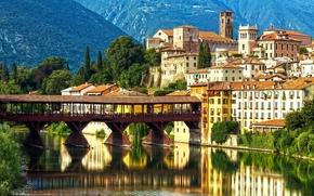 �����: Bassano del Grappa, Ponte degli Alpini, Alpini's bridge, Brenta River, Veneto, Italy, Alps, �������-����-������, ���� �������, ���� ������, ������, ������, �����, ����, ����, ����, ������, ����������, ���������