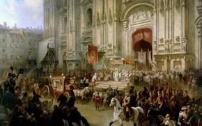 Разное: картина, Шарлемань, Суворов, Милан, 1799, Италия, Россия, карета, конь, всадник, собор