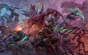 Игры: Heroes of the Storm, Zeratul, Thrall, Arthas, Kael'thas, Diablo, Kerrigan, Illidan, Tychus, рыцари, битва, сражение