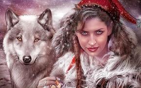 Фантастика: девушка, волк, взгляд