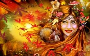 Фантастика: девушка, осень, белка, эльф, грибы, листья, сова