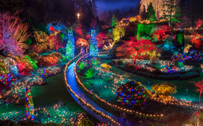 Праздники: Buchart Gardens, Christmas Lights, Saanichton, British Columbia, Canada