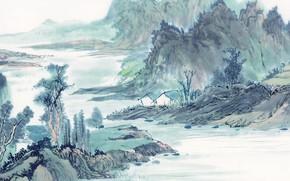 Разное: картина, рисунок, акварель, природа, вечер, река, берег, дома