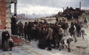 Разное: картина, Роберт Келер, забастовка, Robert Koehler, Der Streik, 1886, завод, рабочие