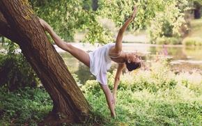 Настроения: девушка, балерина, поза, настроение, дерево, природа