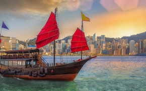 Корабли: Victoria Harbour, Hong Kong, China, Бухта Виктория, Гонконг, Китай, джонка, город, здания, бухта