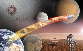 Космос: Космос, Земля, Луна, Марс, планета, поверхность, спутник, космонавты, человек, карта, звёзды, наука, техника, ЕКА, ESA, заря, горизонт, полёт
