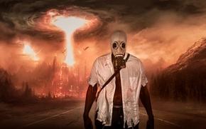 Фантастика: апокалипсис, взрыв, мужик, противогаз, дорога