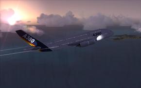 Авиация: пассажирский, самолёт, аэробус, А380, небо, облака, полет, море, волны, остров, заря, авиация, транспорт
