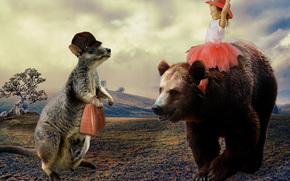 Ситуации: девочка, медведь, кенгуру, радость, настроение, ситуация
