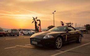 Машины: Jaguar, sports car, автостоянка, закат