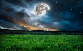 Разное: Луна, небо, звёзды, облака, поле, трава, Земля, космос, пейзаж
