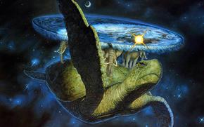 Фантастика: Космос, Мир, Земля, черепаха, слоны, Солнце, Луна, звёзды