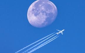 Авиация: самолёт, Луна, планета, небо