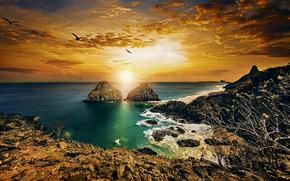 Пейзажи: Twin Brothers, Fernando de Noronha, Pernambuco, Brazil, Atlantic Ocean, Фернанду-ди-Норонья, Пернамбуку, Бразилия, Атлантический океан, скалы, побережье, закат, океан