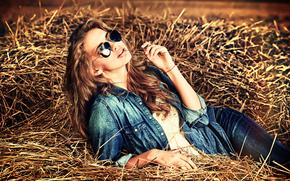 Стиль: модель, джинса, стиль, очки, сено, настроение