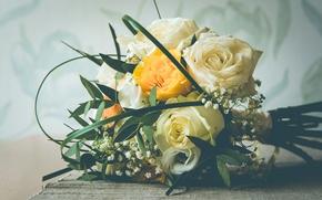 Цветы: свадебный букет, букет, розы
