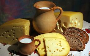 Разное: Кувшин, ломти, аппетитно, кружка, молоко, хлеб, стол, еда