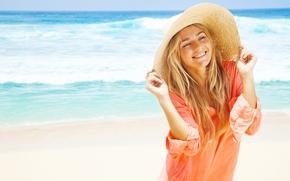 Настроения: девушка, шляпа, рубашка, улыбка, настроение, море, лето