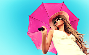 Стиль: девушка, модель, шляпа, очки, зонтик, волосы, локоны, стиль, лето, фон