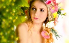 Настроения: Olena Khudyakova, модель, портрет, венок, цветы, герберы