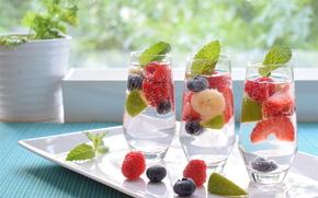 Разное: коктейль, напиток, ягоды, мята, стаканы