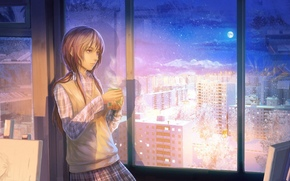 Рендеринг: чай, девушка, город, окно, зима, кружка, снег, комната, квартира, интерьер, чашка, шкаф, луна, ночь
